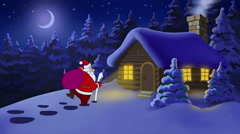 Santa comes to the house with background Stock Footage