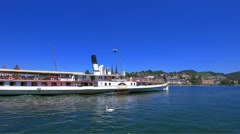 Paddle Steamer Gallia on Lake Lucerne from Lucerne, Switzerland, Europe Stock Footage