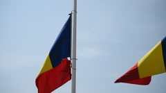 Romania's national flag on a pole blown by the wind Stock Footage