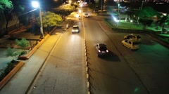 View of Colombian road way from above at night (HD) Stock Footage