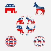 USA political parties symbols Stock Illustration