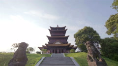 Pagoda and stone lions in China Stock Footage