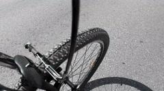 Walk to mountain biking Stock Footage