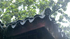 Rain drops from the china ancient temple eave Stock Footage