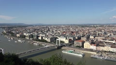 View over the River Danube to Pest in Budapest, Hungary. Stock Footage