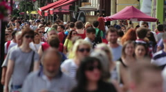 Huge Crowded Sidewalk City Life Stock Footage