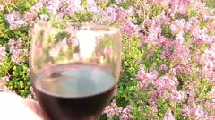 Red Wine with Lilac Stock Footage
