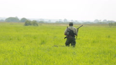The hunter in the field with setter shooting at a flying bird, snipe Stock Footage