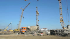 Delivery of concrete on building site using truck Stock Footage