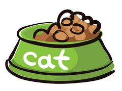 Bowl dry food for cats with caption Stock Illustration
