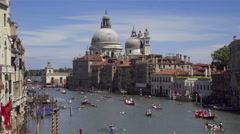 Venice, view of grand canal and basilica of santa maria della salute. Italy. Stock Footage
