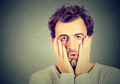 Portrait of desperate unhappy man . Stock Photos