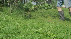Worker mowing a grass using trimmer outdoors Stock Footage