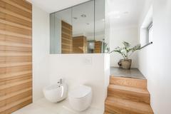 Minimalist loft bathroom - stock photo