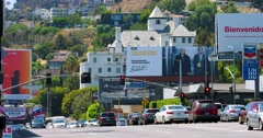 Chateau Marmont Hotel and Bar on Sunset Boulevard in Los Angeles 4K RAW Stock Footage