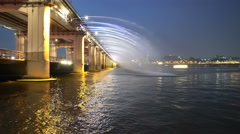 Banpo bridge with rainbow fountain show in Seoul Stock Footage