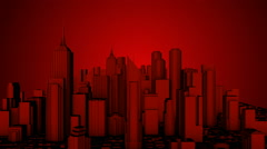 City Fly Through Loop Red Stock Footage