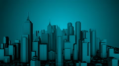 City Fly Through Loop Blue Stock Footage
