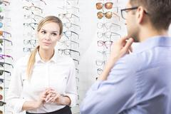 At eyewear store - stock photo