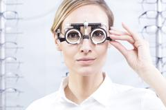 Trial frame for lens determination - stock photo