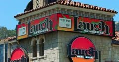 Laugh Factory and celebrity homes on Sunset Strip in Los Angeles, California, 4K Stock Footage