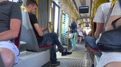 Passenger POV in public trasport, inside a tramway in Warsaw, Poland Stock Footage