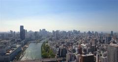 Beautiful Osaka City Skyline aerial backwards reveal shot  Stock Footage