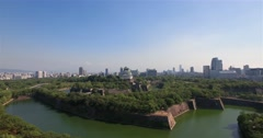 Osaka Castle Park aerial view Stock Footage