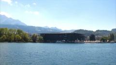 View of the KKL Culture and Congress Centre in Lucerne, Switzerland, Europe Stock Footage