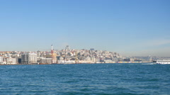 View of Istanbul from the river bosporus Stock Footage