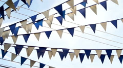 Pennant Flags Blue and White Panning Stock Footage