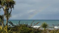 New Zealand faint rainbow at Kaka Point Stock Footage
