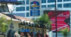Billboard advertising on Sunset Strip on Sunset Boulevard, Los Angeles, 4K, RAW Stock Footage