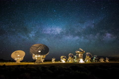 5k Radio Array Telescopes with Milky way Wide Stock Footage