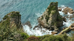 New Zealand Looking down at rock Nugget Point Stock Footage