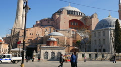 Daily life in front of the Hagia Sophia Stock Footage