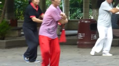 Shenzhen, China: morning Tai Chi Sword of old people Arkistovideo