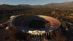 "Aerial ""Pedestal Down"" of The Rose Bowl in Pasadena, California Stock Footage"