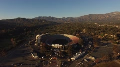 Aerial Pivot Facing West of The Rose Bowl in Pasadena, California Stock Footage