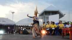 People dancing supreme thai mask or Khon dance drama thai style for show Stock Footage