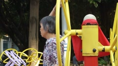 Chinese elderly women in physical exercise Stock Footage