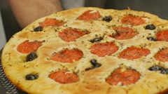 Focaccia Bread Pizza Commercial Industrial Restaurant Close Up Stock Footage