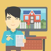 Real estate agent offering house Stock Illustration