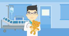 Pediatrician doctor holding teddy bear Stock Illustration