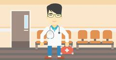 Doctor with first aid box vector illustration Stock Illustration