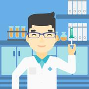 Laboratory assistant with syringe in lab Piirros