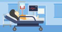 Woman lying in hospital bed vector illustration - stock illustration