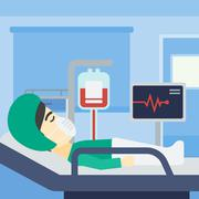 Patient lying in hospital bed with heart monitor Stock Illustration