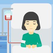 Patient lying in hospital bed vector illustration Stock Illustration