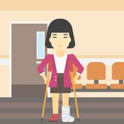 Woman with broken leg and crutches Stock Illustration